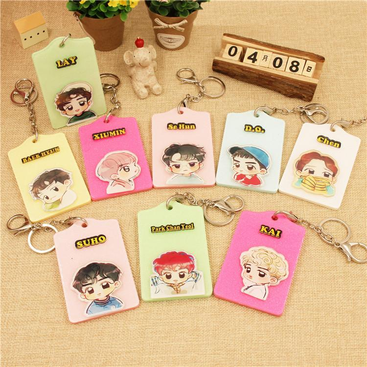 EXO Cartoon-Inspired Members Ez-Link Card Holder w/ Keychain Buckle