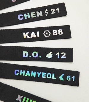 EXO Reflective Colourful Laser Name Strip Keychain Lanyard