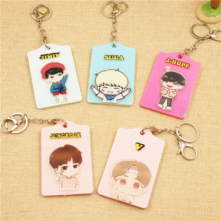 BTS Cartoon-Inspired Members Ez-Link Card Holder w/ Keychain Buckle