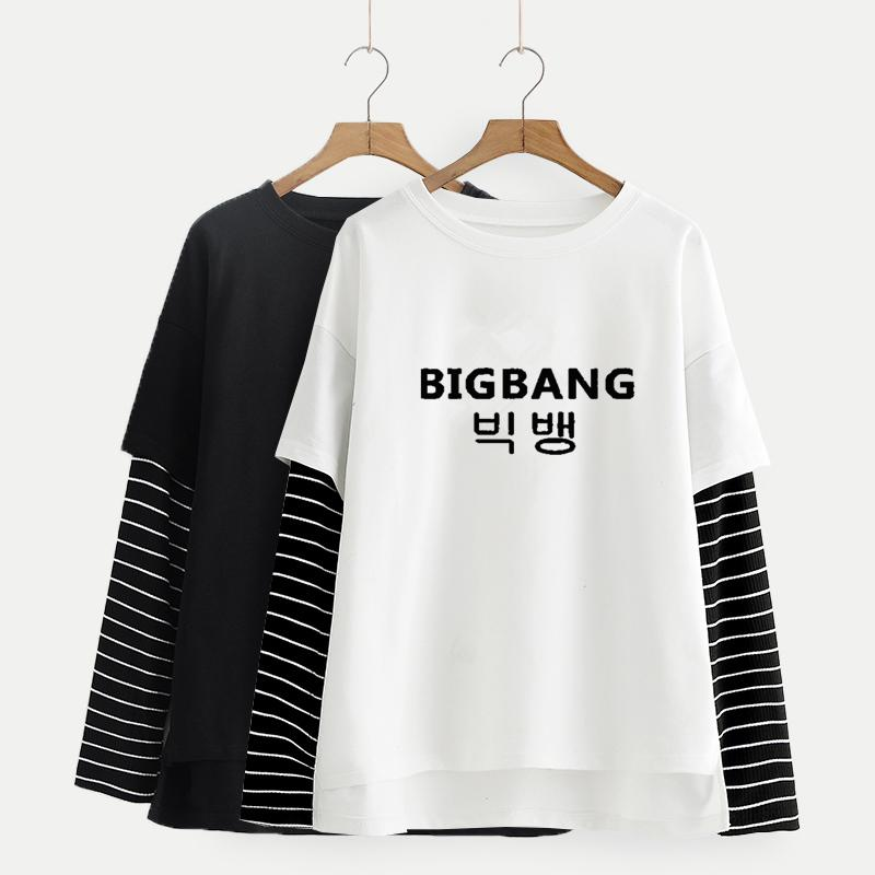 Bigbang Long Sleeve T-shirt w/ Monochrome Stripes
