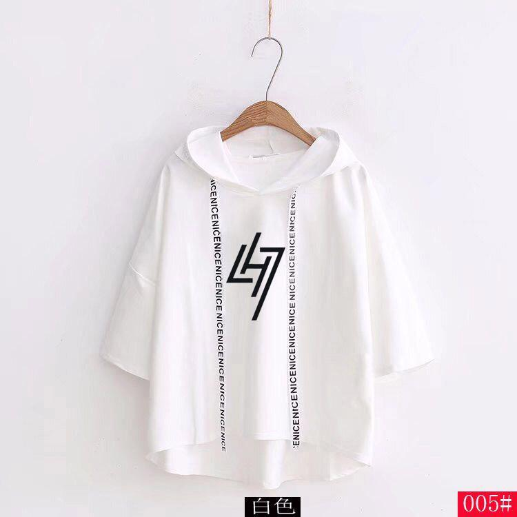 EXO Luhan LH7 Restart Logo Korean Style Loose Cut Short Sleeve Hoodie 3 Colours 574351559149#3920770734997 574351559149#3920770734996 574351559149#3920770734999 574351559149#3920770734998 574351559149#3920770735000