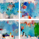 "Art abstract ""Blue Bayou"" set of 4"