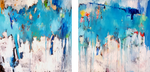 "Art abstract "" Blue I love you"" Diptych"
