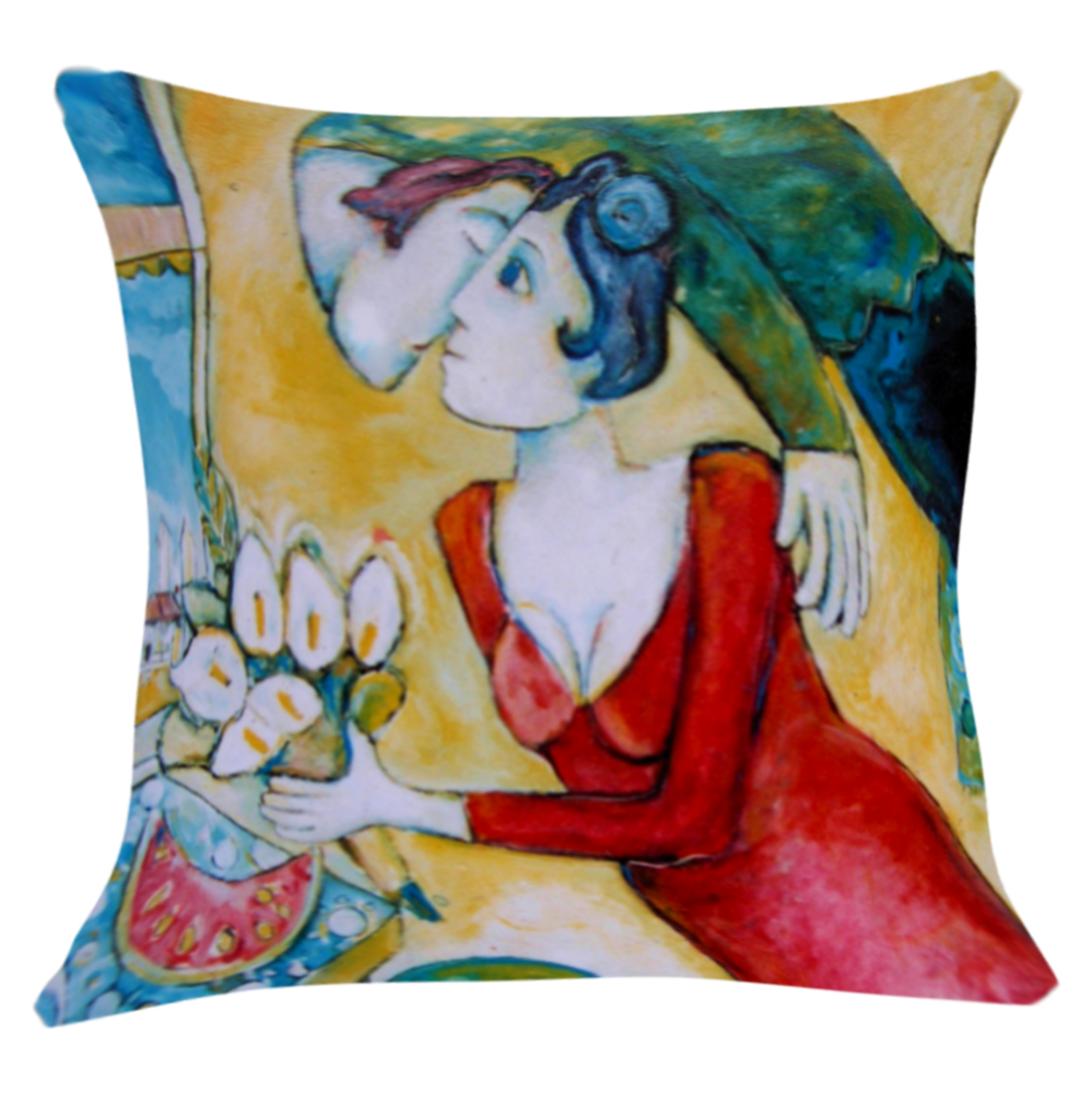 Lovers Printed Art Cushion