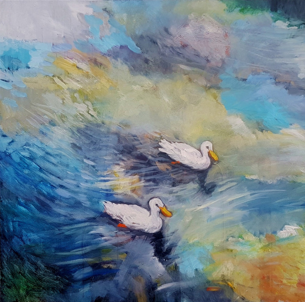 "Art Waterstudy "" Freds' Ducklings"" Diptych"