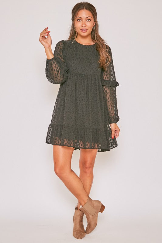 Spot Check Ruffle Dress