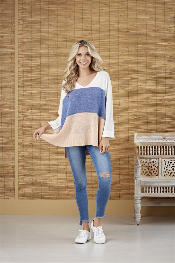 Lincoln Color Block Sweater- Blue