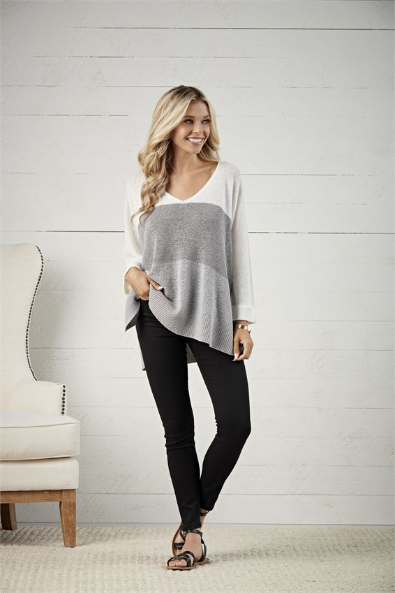 Lincoln Color Block Sweater- Grey