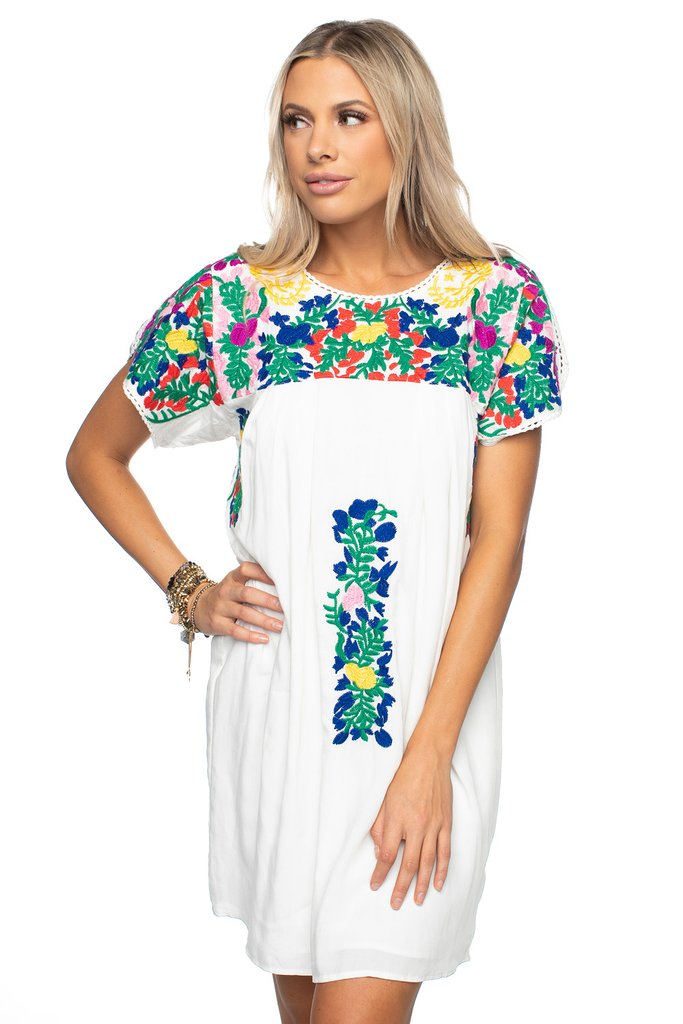 Carolina Embroidered Dress- Multi