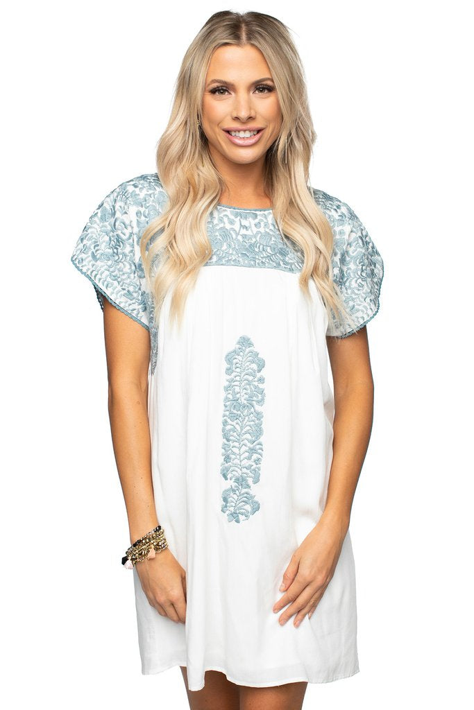 Carolina Embroidered Dress- Dusty Blue