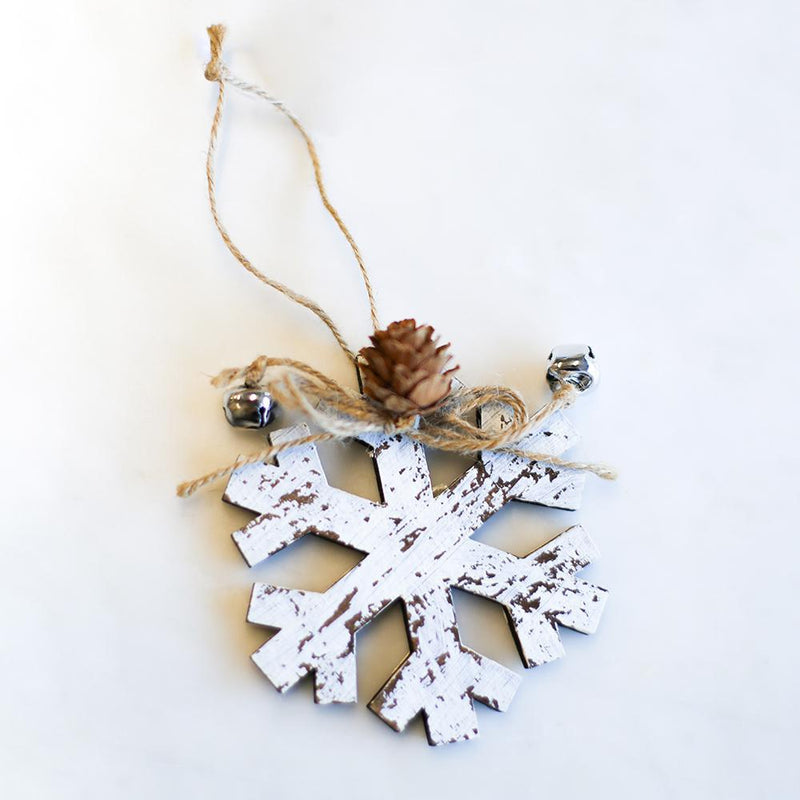 Woodsy Snowflake Ornament Antique White
