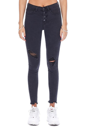 Judy Blue Button Fly Black Skinny