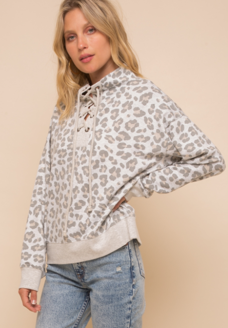 Lace Up Mock Neck Leopard Sweater