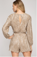 Metallic Surplice Romper