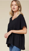 Skyline Babydoll Top- Black