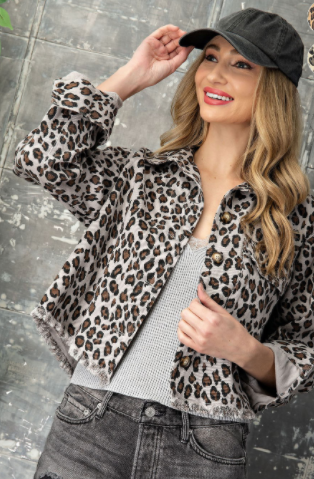 Janelle Leopard Denim Jacket