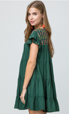Marshall Embroidered Dress Emerald