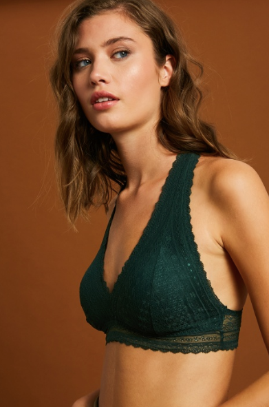 Lace Halter Bralette- Hunter Green