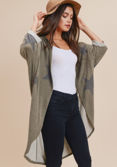 Stars Out Army Green Cardigan