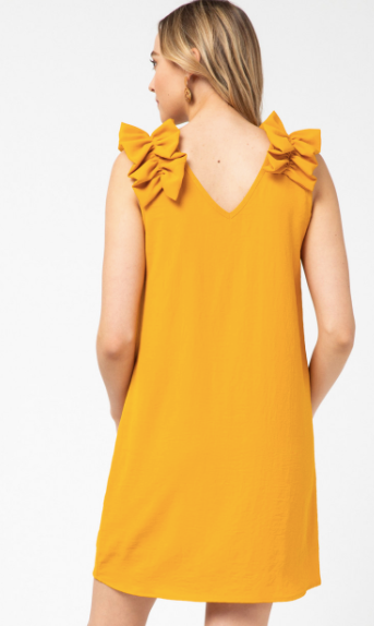 Gather Around Ruffle Shoulder Dress