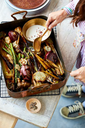 Prebiotic Tray Bake with Gut-Loving Garlic Tahini Drizzle