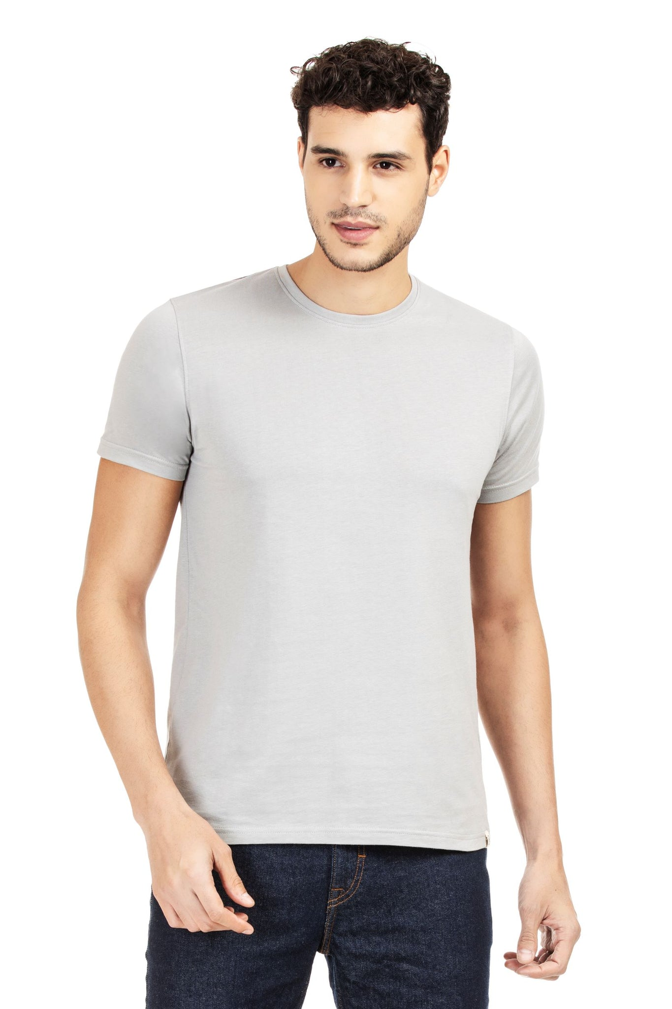 100% Organic Cotton Round Neck T-shirt (Ethereal Grey)