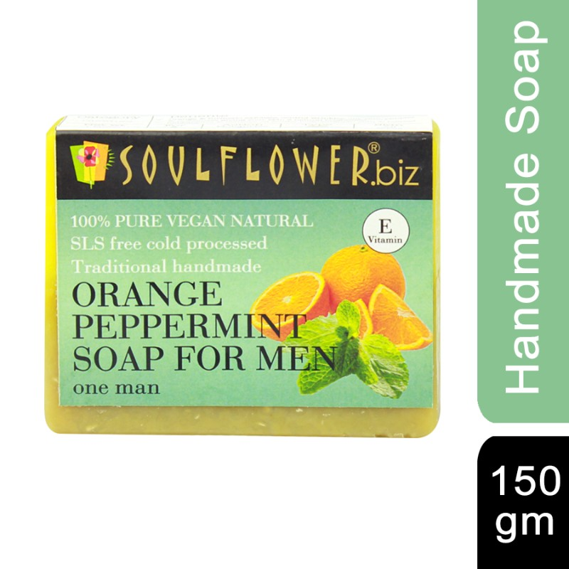 Soulflower Handmade Soap, Orange and Peppermint, 150g