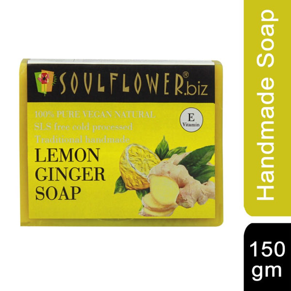 Soulflower Handmade Soap, Lemon and Ginger, 150g
