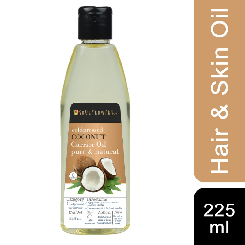 Soulflower Coconut Oil for Hair and Skin, 225ml