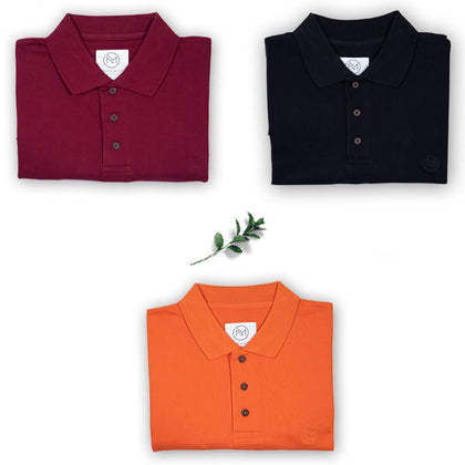 5e0b222aad412 100% Organic Cotton Polo Neck T-Shirts - Classic Value Pack of 3 in ...
