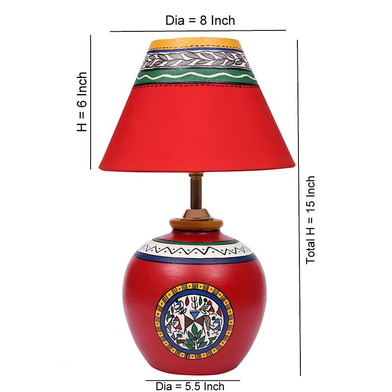 Terracotta Matki Table Lamp (Red)