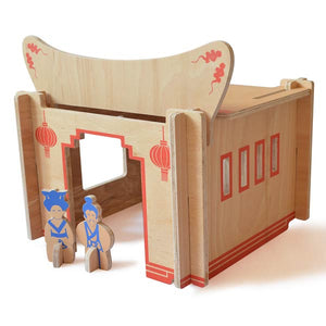 DIY Wooden Build-A-House Dollhouse Toy Set (Mandarin)