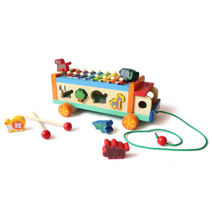 Wooden Animal Musicial Activity Truck - 100% Safe, Natural & Eco-friendly