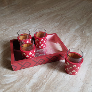Chai Glasses and Tray Set in Banarasi Woodwork