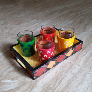 Chai Glasses and Tray Set in Banarasi Woodwork (Set of 4 Glasses)