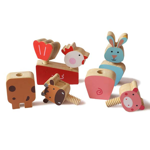 Wooden Farm Animals Twist & Turn Toy Set (Set of 4 animals) - 100% Safe, Natural & Eco-friendly