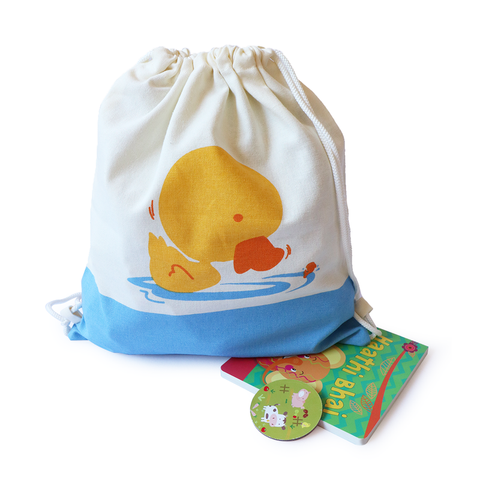 Treasure Trove Canvas Drawstring Toy Bag for Toddlers (Duck)