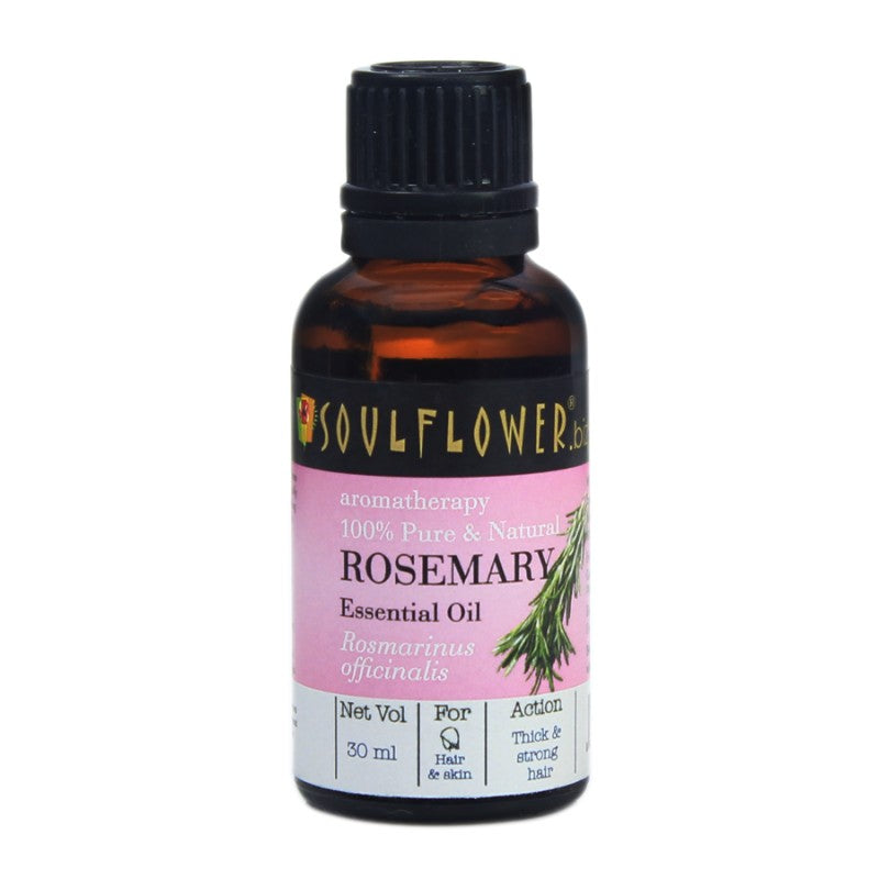 Soulflower Rosemary Essential Oil for Hair and Skin, 30ml