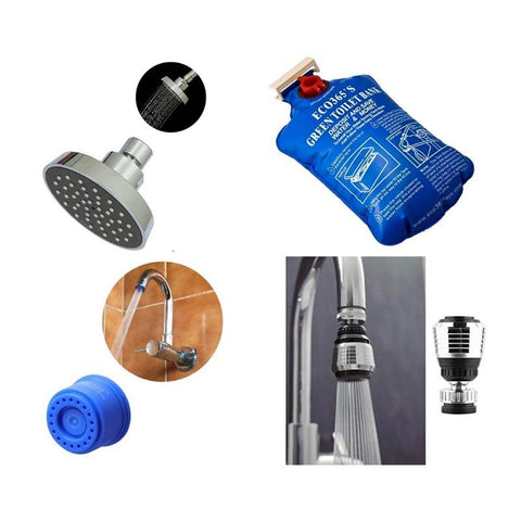 3BHK Water Saving Kit with Showerheads, Toilet Banks, Tap Adapters, and Kitchen Sink Aerator