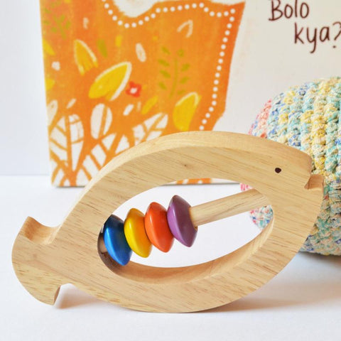 Wooden Fish Rattle and Teether for Infants