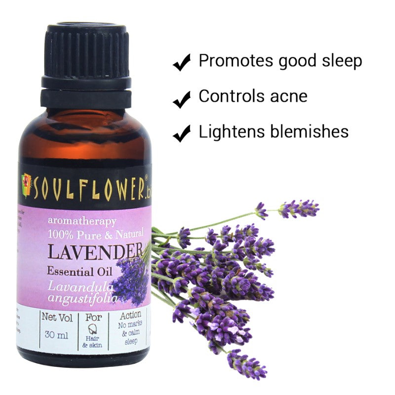 Soulflower Lavender Essential Oil for Hair and Skin, 30ml