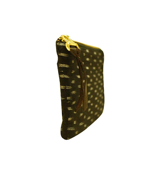 Eco-friendly Women's Ikat Printed Black Color Coin Pouch With Zip