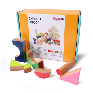 Wooden Chalk-O-Block Toys Set - 100% Safe, Natural & Eco-friendly