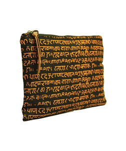 Eco-friendly 'Indie-genius' Pouch (Soft Cotton Yellow Color Mantra Print with Zip)