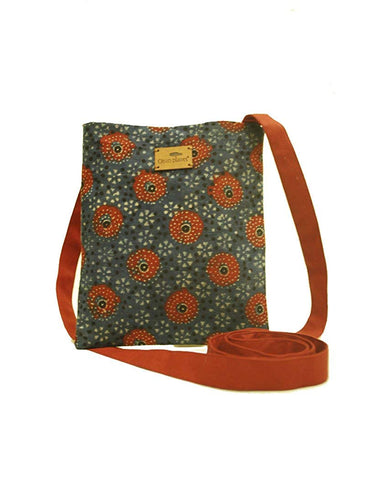 Eco-friendly Women's Ajrakh Sling Bag (Blue with Red Circles)