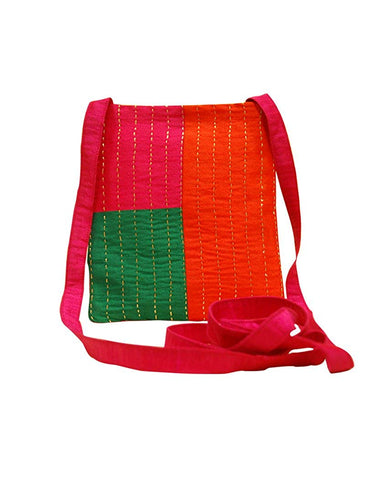 Handcrafted Sling Bag (02) - Red and Green