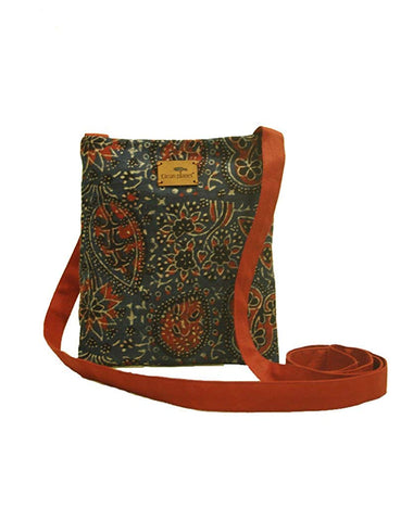 Eco-friendly Women's Ajrakh Sling Bag with Blue, White, Red and Black Print