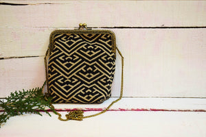 Jacquard Monochrome Sling Bag Handmade by Women Artisans