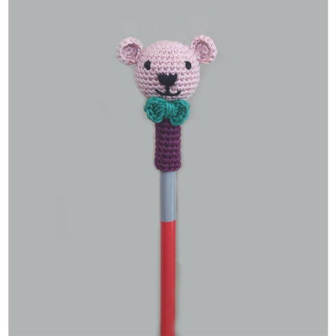 Handcrafted Crochet Bear Pencil Topper- Set of 6
