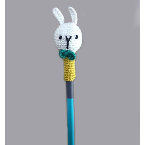 Handcrafted Crochet Rabbit Pencil Topper - Set of 6